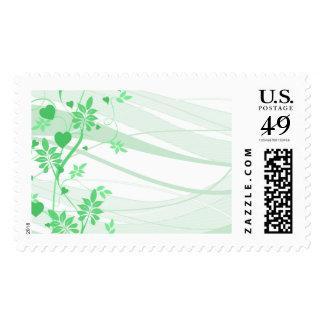 Franqueo floral verde elegante en blanco