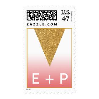 Franqueo geométrico de Ombre del triángulo del oro Estampilla