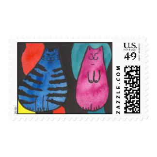 Franqueo gordo de los gatos de la diversión sello