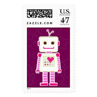 Franqueo grande del robot del chica sello