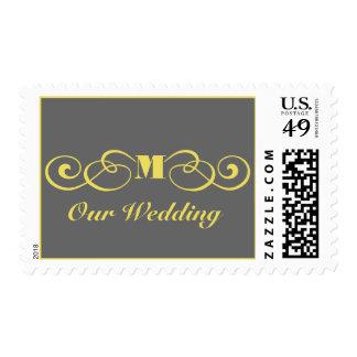 Franqueo gris y amarillo del boda del monograma timbres postales