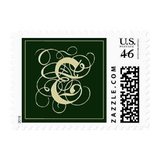 Franqueo irlandés del monograma del verde esmerald