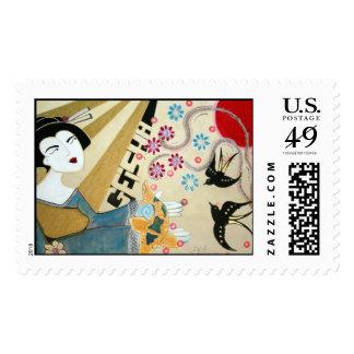 Franqueo japonés del geisha/de los pescados de Koi