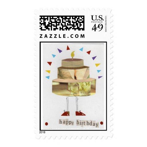Franqueo jovial del cumpleaños sellos postales