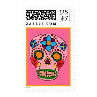 Franqueo mexicano del cráneo del azúcar del arte sello postal