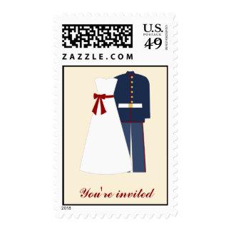 Franqueo militar del personalizado del boda