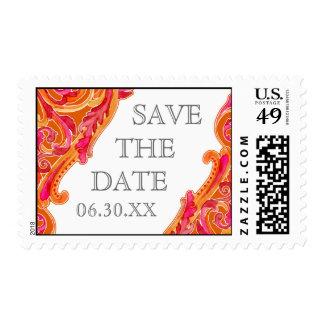 Franqueo moderno del rosa de la mandarina del timbres postales