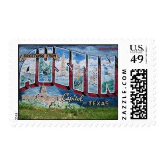 Franqueo mural de la postal de Austin Estampilla