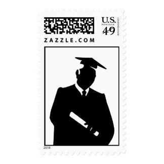 Franqueo negro de la graduación de la silueta sello
