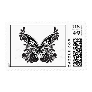 Franqueo negro de la mariposa sello