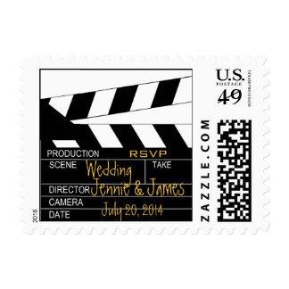 Franqueo negro del boda del tema de la película de sellos