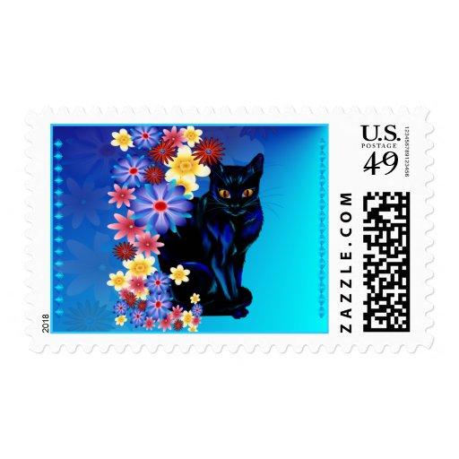 Franqueo negro del gatito del jardín