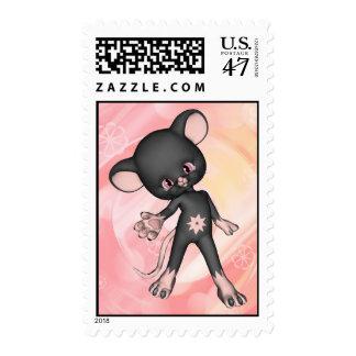 Franqueo negro lindo del ratón sellos