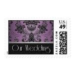 Franqueo negro púrpura del boda del damasco de Lap