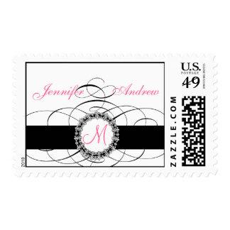 Franqueo negro rosado del boda con la flor de lis