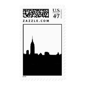 Franqueo negro y blanco de la silueta de Nueva Sellos Postales