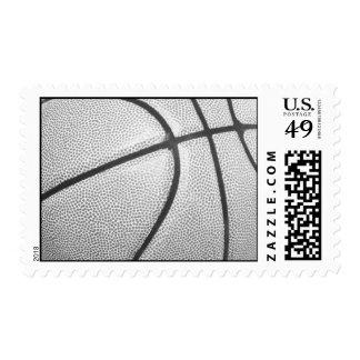 Franqueo negro y blanco del baloncesto sello