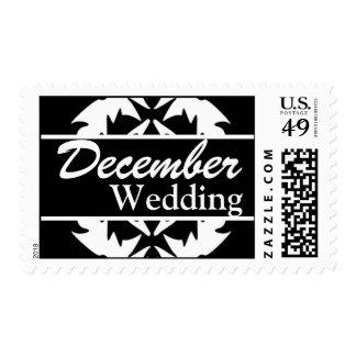 Franqueo negro y blanco del boda de diciembre del