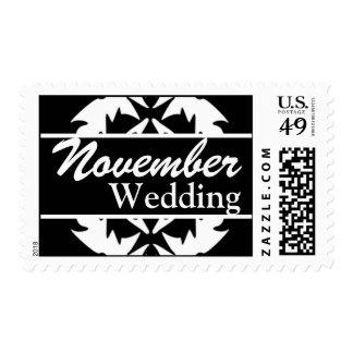 Franqueo negro y blanco del boda de noviembre del