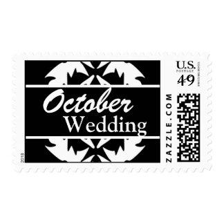 Franqueo negro y blanco del boda de octubre del pe