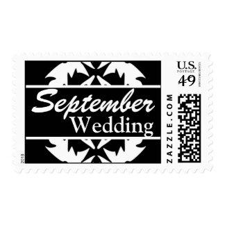 Franqueo negro y blanco del boda de septiembre del
