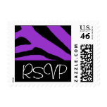 Franqueo negro y púrpura de RSVP de la cebra del p