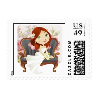 Franqueo nupcial de la ducha de la novia linda del sellos postales