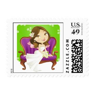 Franqueo nupcial de la ducha de la novia linda del timbres postales