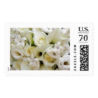 Franqueo nupcial del ramo de los rosas blancos del timbres postales