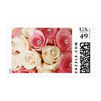 Franqueo nupcial del ramo de los rosas rosados del timbres postales
