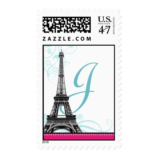 Franqueo parisiense del monograma de la torre timbre postal