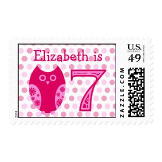 Franqueo personalizado cumpleaños rosado del búho