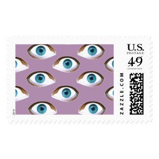 franqueo postal de los sellos de los ojos azules