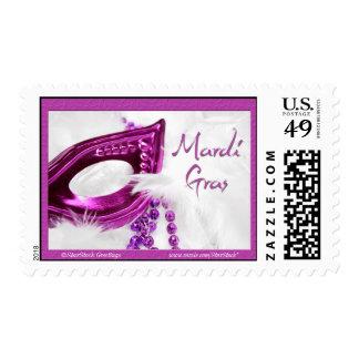 Franqueo púrpura de la máscara del carnaval