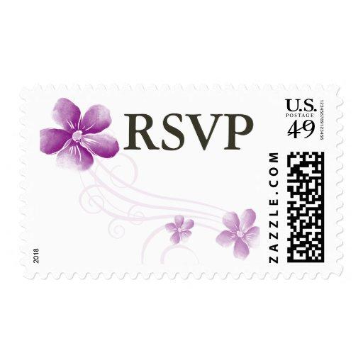 Franqueo púrpura de RSVP de la acuarela que se Sellos Postales