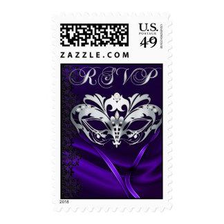 Franqueo púrpura de RSVP de la mascarada de plata
