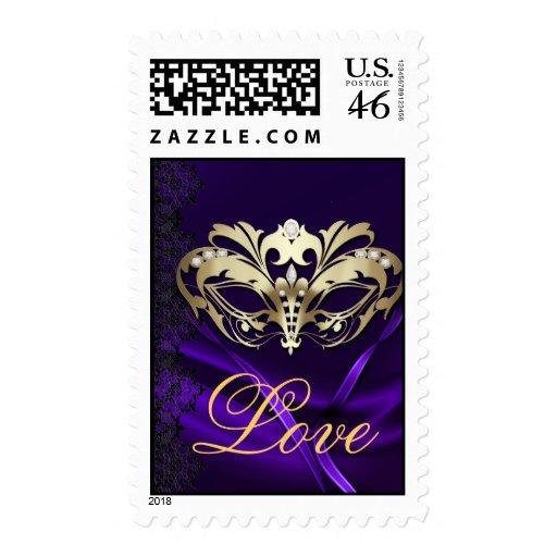 Franqueo púrpura del amor de las tarjetas del día