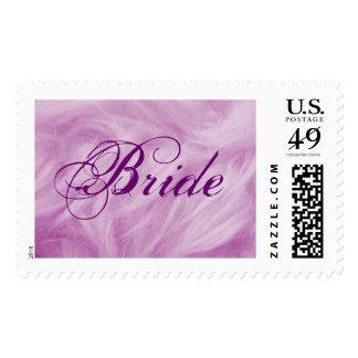 Franqueo púrpura del penacho de la novia - persona