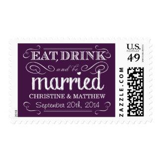 Franqueo púrpura rústico del boda del vintage sellos postales