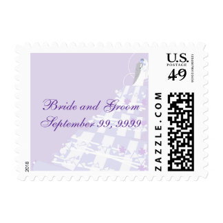 Franqueo púrpura y blanco del boda del pastel de timbre postal