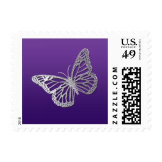 Franqueo púrpura y de plata de la mariposa