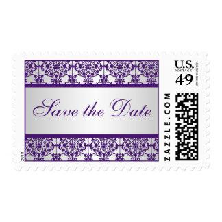 Franqueo púrpura y de plata del boda del damasco estampilla