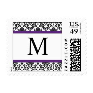 Franqueo púrpura y negro del monograma del damasco