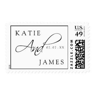 Franqueo que se casa elegante blanco negro de los timbres postales