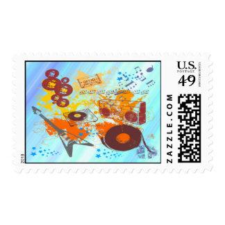 Franqueo retro de la música de los años 80 sellos