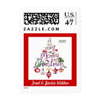 Franqueo retro del árbol de navidad del vintage timbres postales