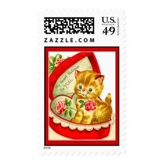 Franqueo retro del gatito de la tarjeta del día de