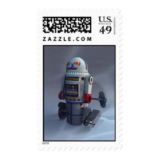 Franqueo retro del número 7 del robot del juguete