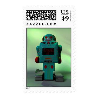 Franqueo retro del robot del juguete