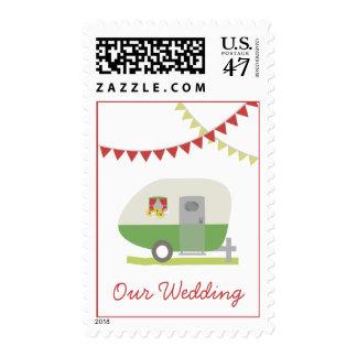 Franqueo retro verde del boda del remolque sello postal